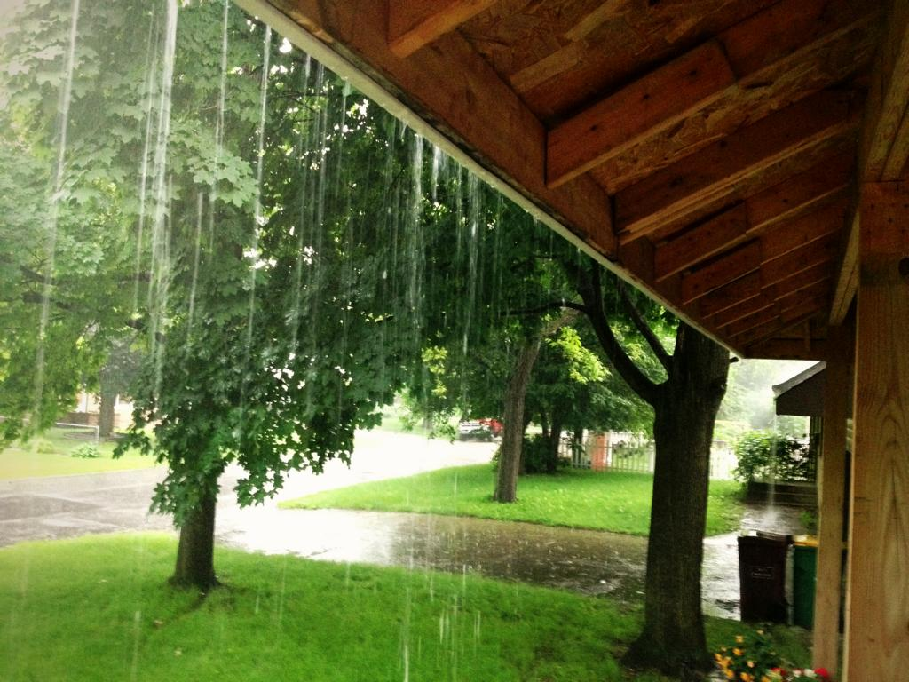 Photo: rain on our porch