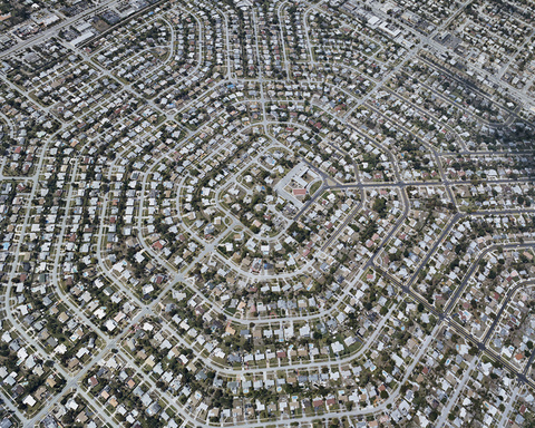 Arial shot of a Florida suburb